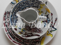 Unikatno poslikana skleda, krožnik in vrč za mleko